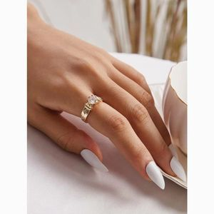 Simple Dainty Gold Delicate Stone Textured Ring